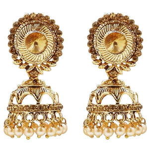 Kriaa Gold Plated Stone And Pearl Jhumki Earring