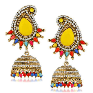 Kriaa Austrian Stone Multi Beads Gold Plated Jhumki Earring