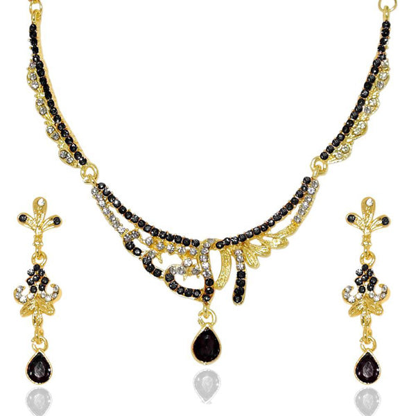 Kriaa Black Stone Gold Plated Necklace Set