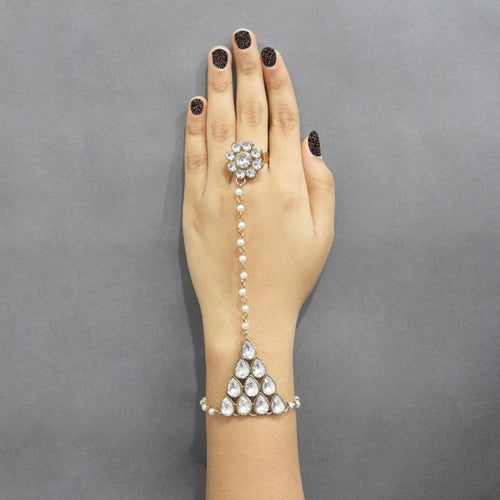 Apurva Pearls Pearl Stone Gold Plated Chain Hand Harness