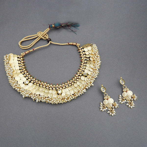 Sai Raj AD Stone Copper Pearl Temple Coin Necklace Set