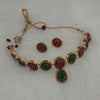 Sai Raj Maroon Resin Stone Copper Necklace Set