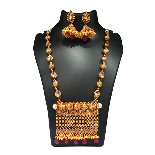 Real Creation AD Stone Pearl Copper Necklace Set