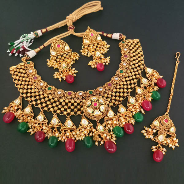 Real Creation Kundan Copper Necklace Set With Maang Tikka