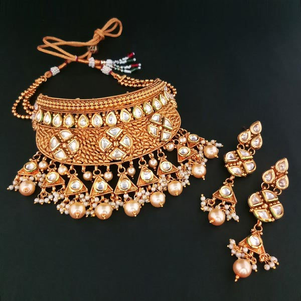Real Creation AD Kundan Stone Copper Necklace Set