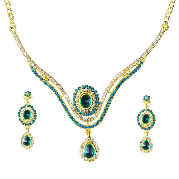 Kriaa Blue Stone Drop Gold Plated Necklace Set