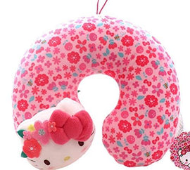 Hello Kitty Pink Flower Kids Travel Pillow