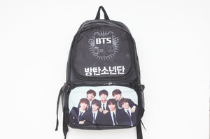 K-pop BTS Bangtan Boys Large Black Backpack Rucksack