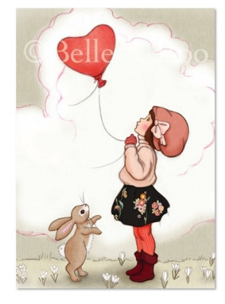 "Belle & Boo Postcard - ""Heart Shaped Balloon""  (Vintage Style)"