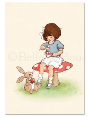 "Belle & Boo Postcard - ""Strawberries & Cream""  (Vintage Style)"