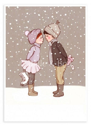 "Belle & Boo Postcard - ""Winter Kiss""  (Vintage Style)"
