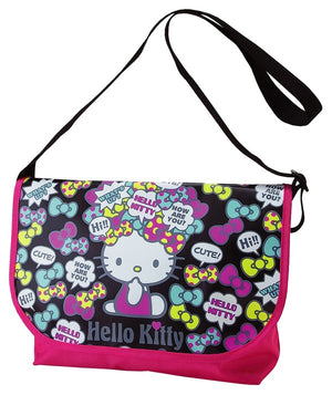 Hello Kitty Lrg Messenger Bag /School Bag - Black with Bows