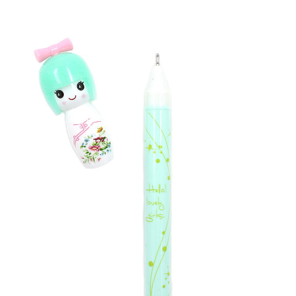 Japanese Kokeshi Doll Fine Tip Gel Pen - Green