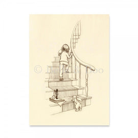 Belle & Boo Postcard - Up The Stairs We Go (Vintage Style)