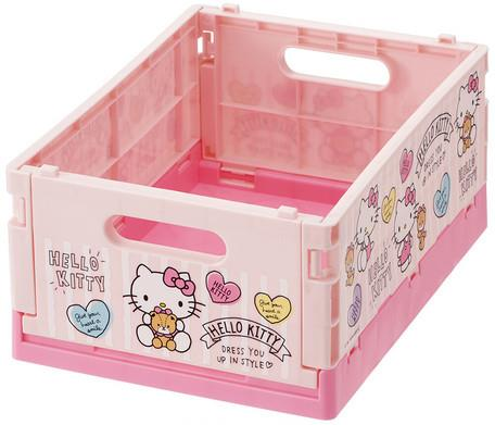 Hello Kitty Pink Foldable Storage Basket Crate - Small