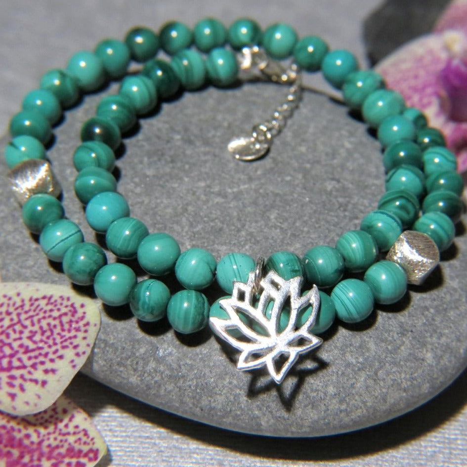 Bracelet double en pierres naturelles de Malachite