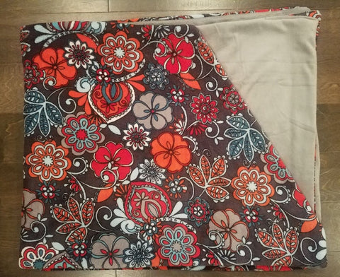 Large Bright Flower Minky Blanket