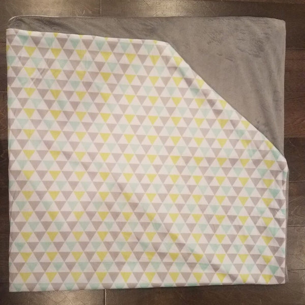 Large grey, lime and teal triangle minky Blanket