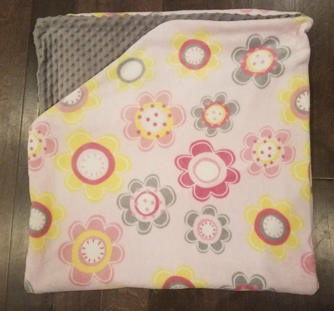 Large Flower Minky Blanket