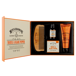 caja de cuidado de barba thisttle & black pepper the scottish fine soaps