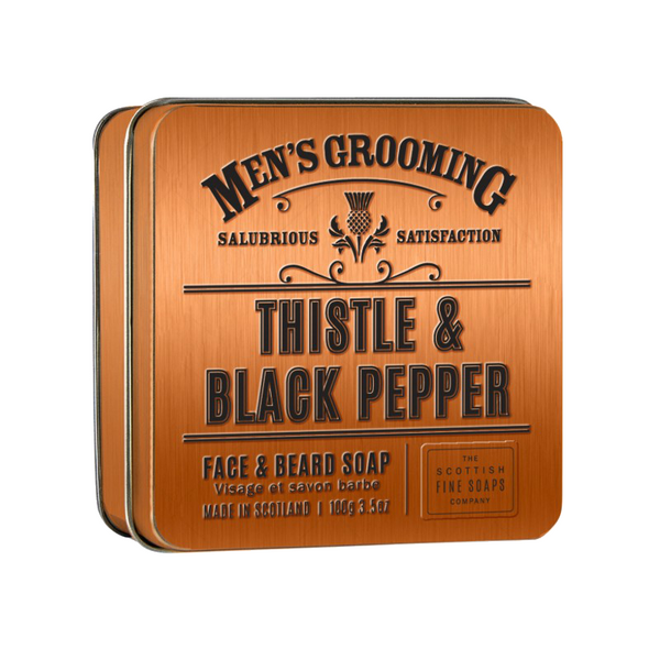 jabón para barba thistle & black pepper de the scottish fine soaps