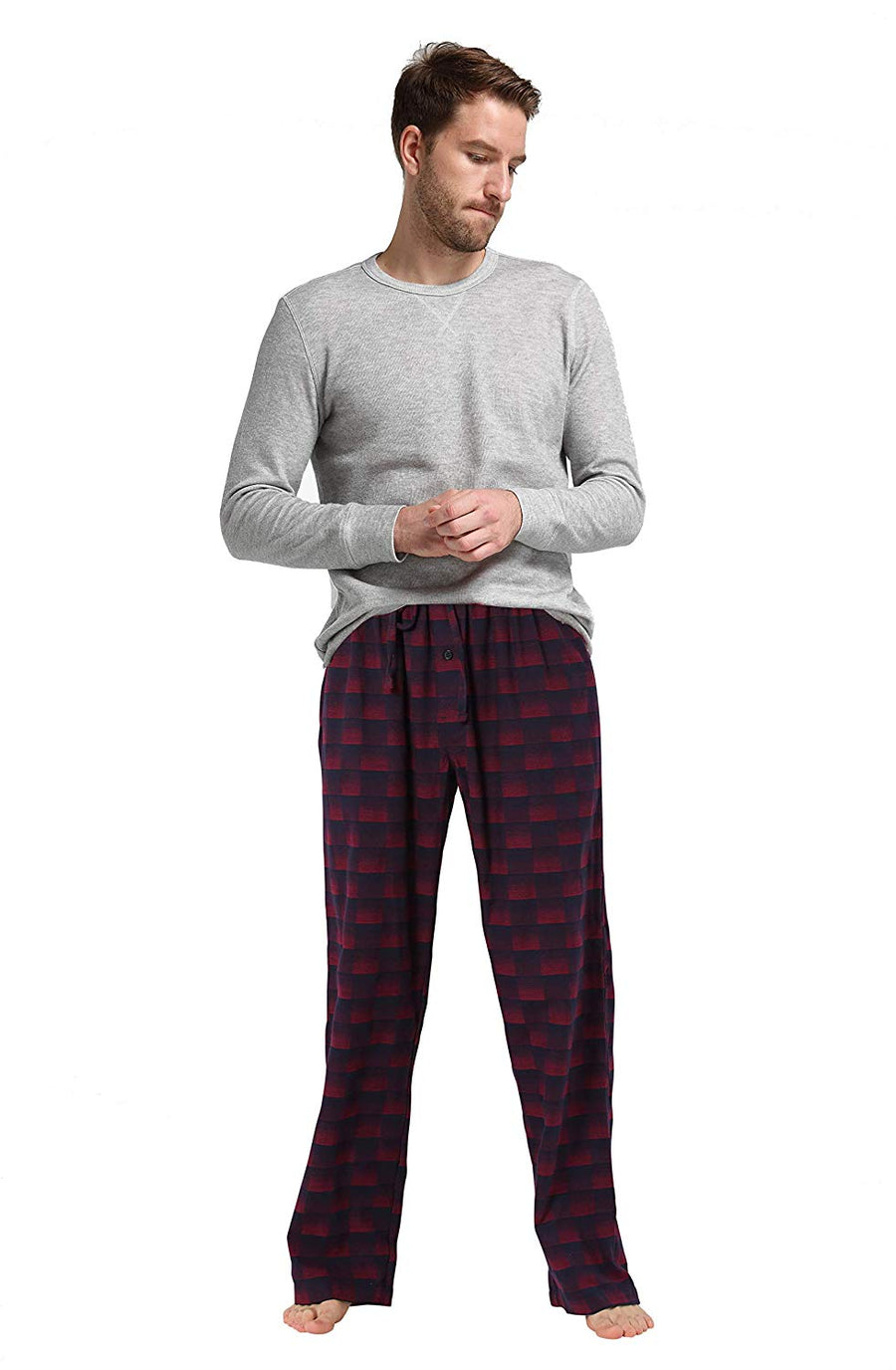 CYZ Men's Holiday Pajama Gift Set Cotton Rib Shirt with Flannel Pajama Pants
