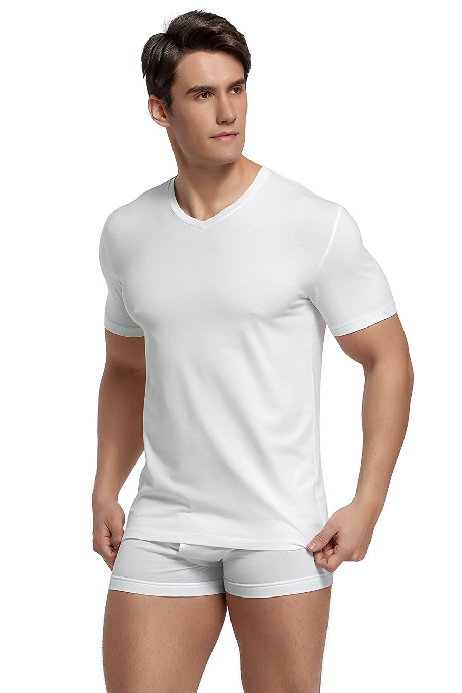 CYZ Mens Cotton Stretch V-Neck Fitted T-Shirt 2-PK