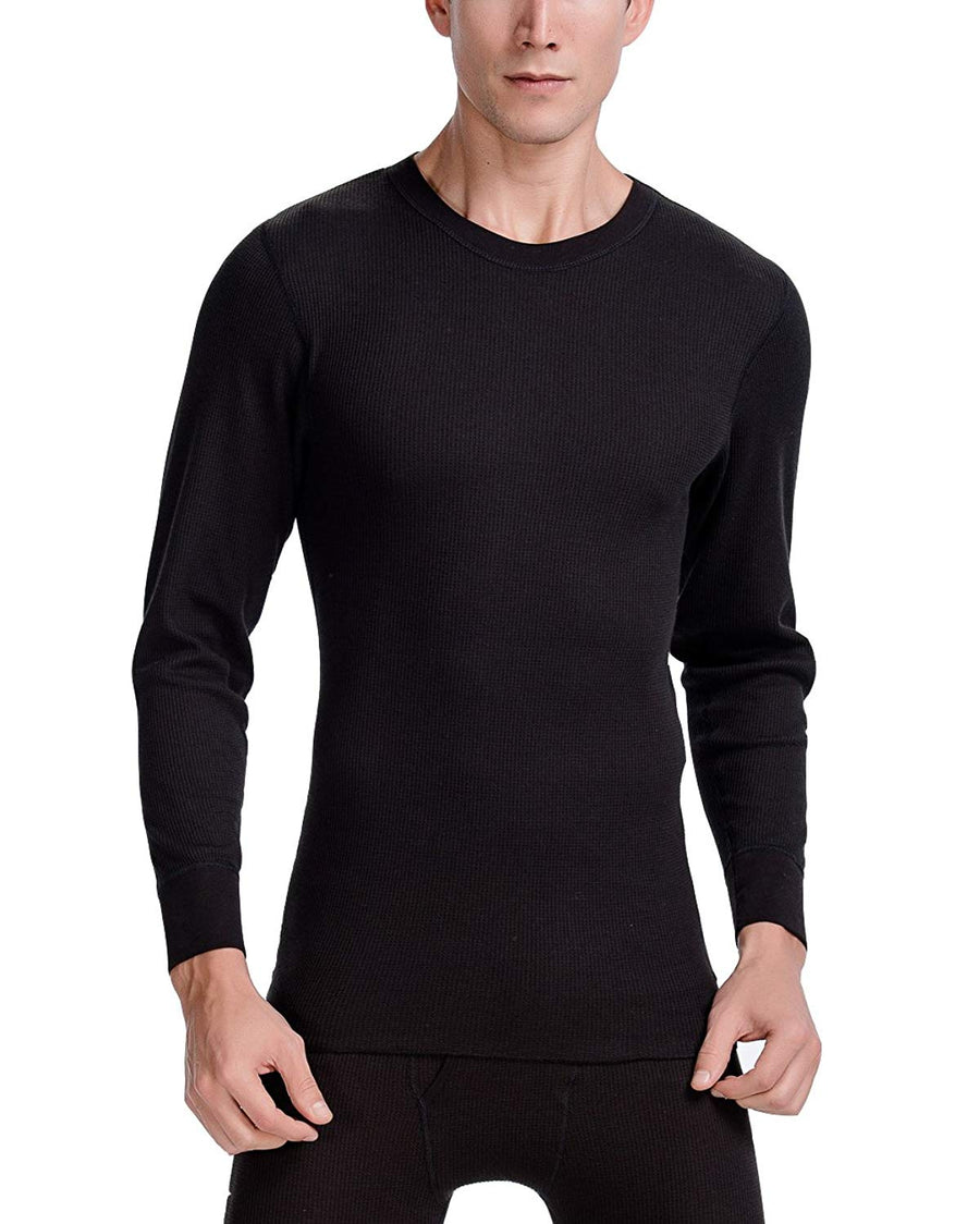 CYZ Men's Mid Weight Waffle Thermal Long Sleeve Crew Top
