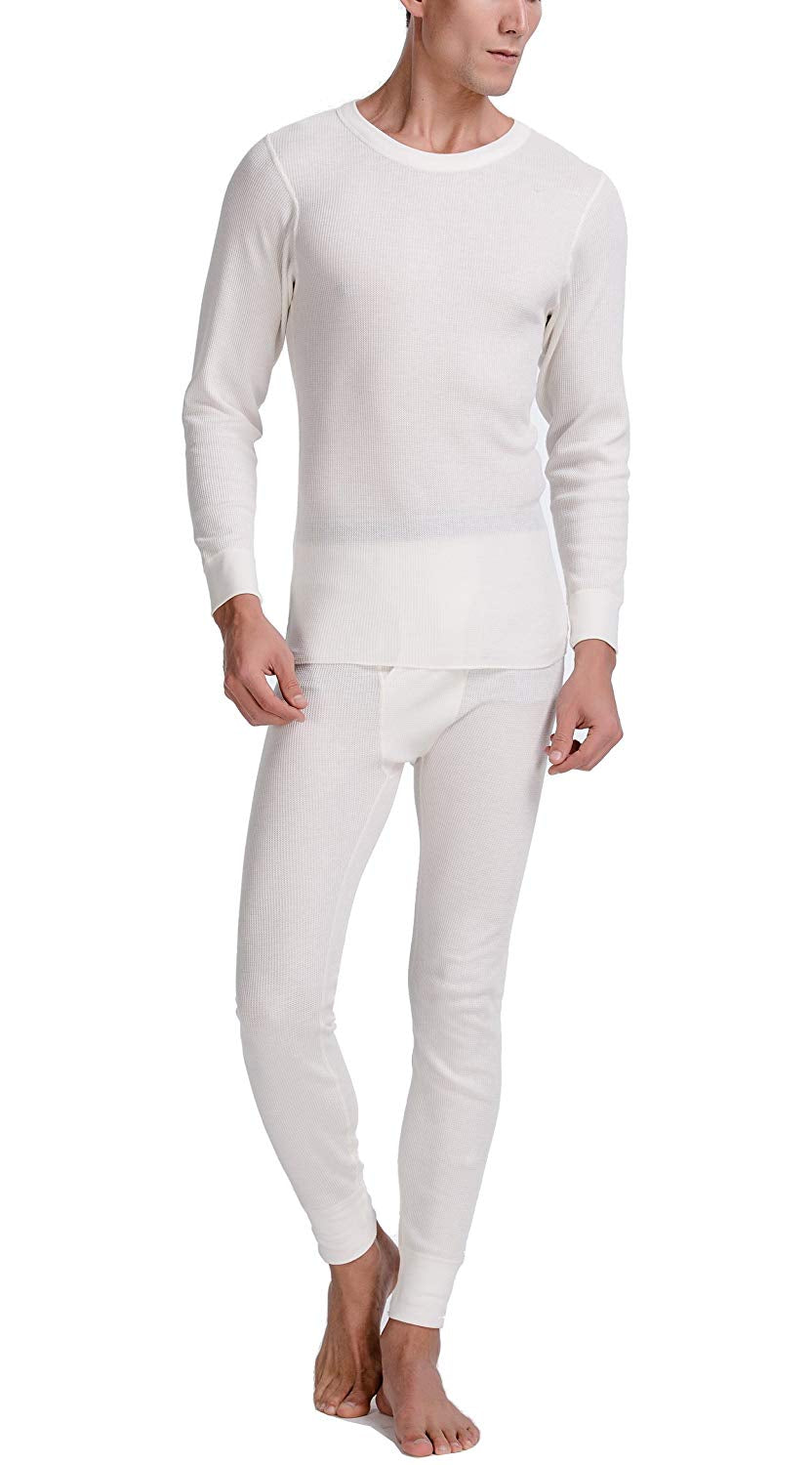 CYZ Men's Mid Weight Waffle Thermal Long John Set