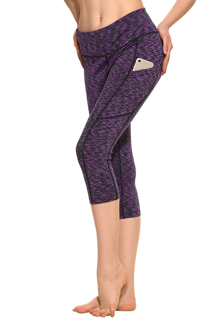 CYZ Women's Space-Dyed Tummy Control Yoga Workout Leggings with Cell Phone Pocket