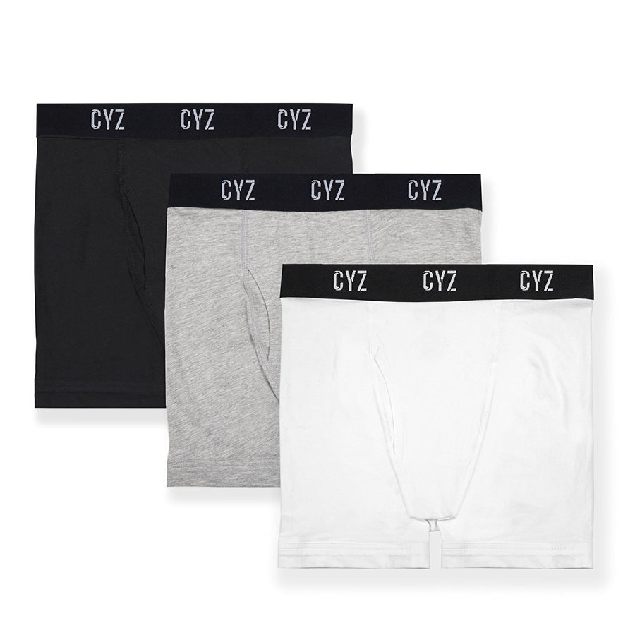 CYZ Men's 3-PK Cotton Stretch Boxer Briefs for Men Pack of 3