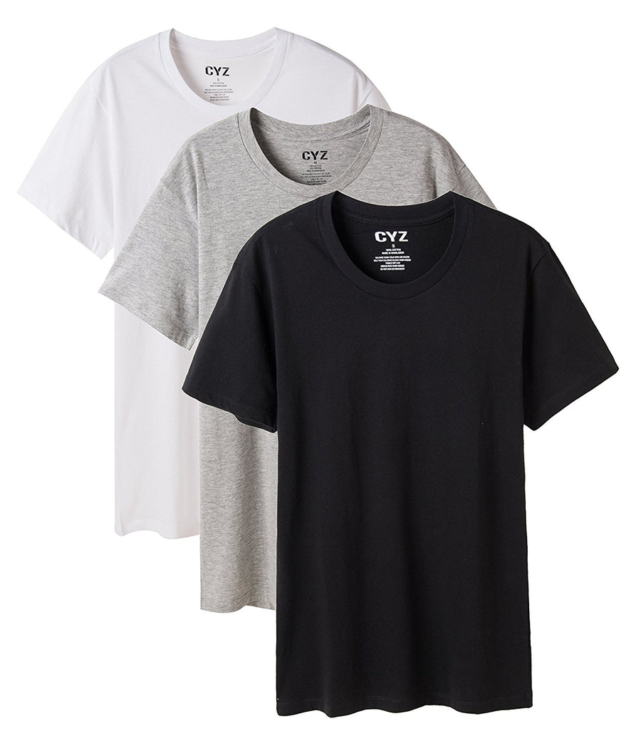 CYZ Men's 3-PK 100% Cotton Crew Neck T-Shirt