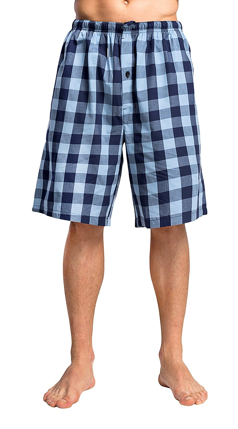 CYZ Men's 100% Cotton Plaid Woven Pajama Shorts Lounge Shorts Sleep Shorts