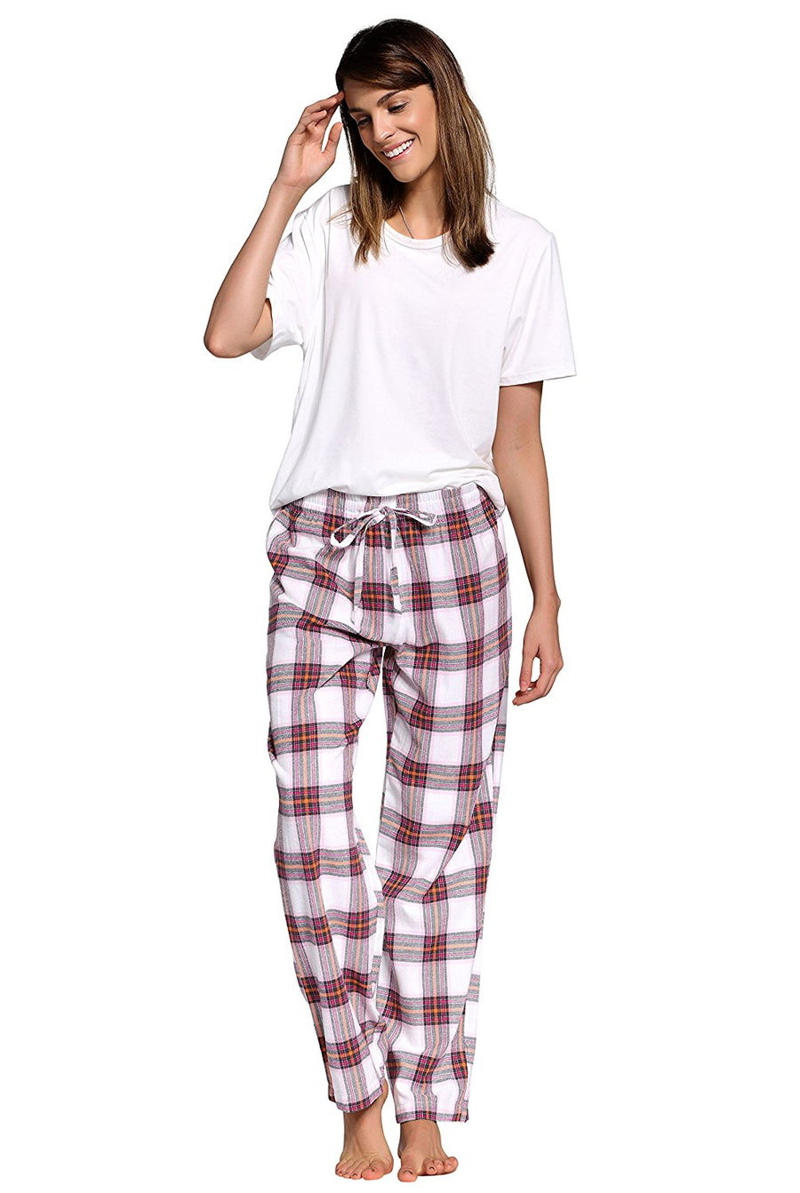 CYZ Women's 100% Cotton Super Soft Flannel Plaid Pajama/Louge Pants