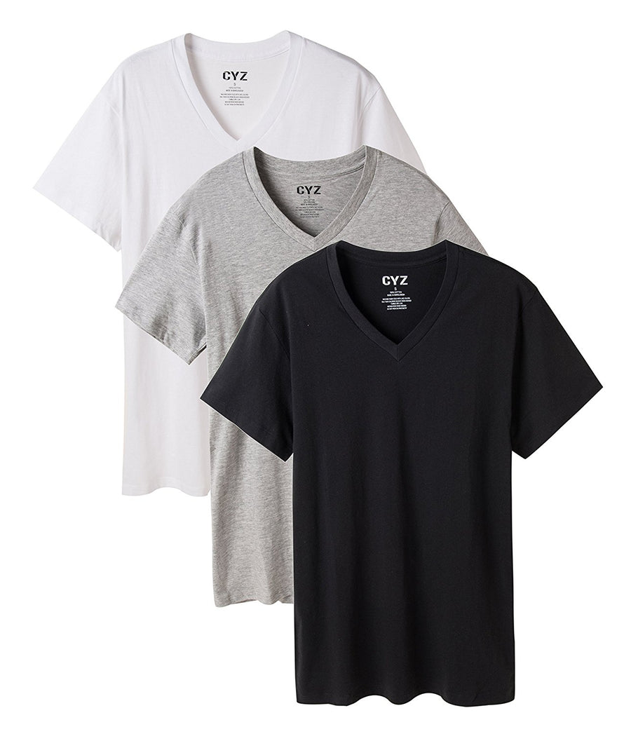 CYZ Men's V-Neck T-Shirt Pack of 3 100% Cotton