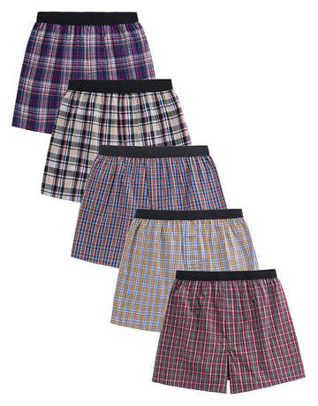 CYZ Men's 100% Cotton Woven Boxers For Men Pack of 5