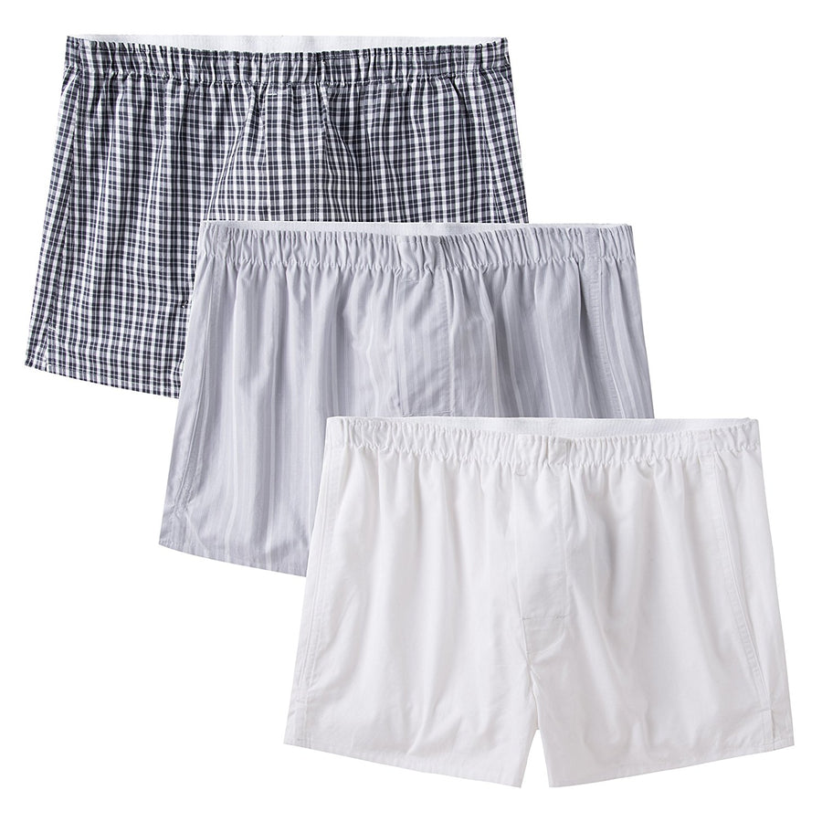 CYZ Men's 100% Cotton Classic Woven Boxers 3 Packs