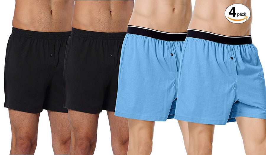 CYZ Mens Multi-Pack 100% Cotton Knit Boxers Pajama Bottoms - Sleep/Lounge Shorts