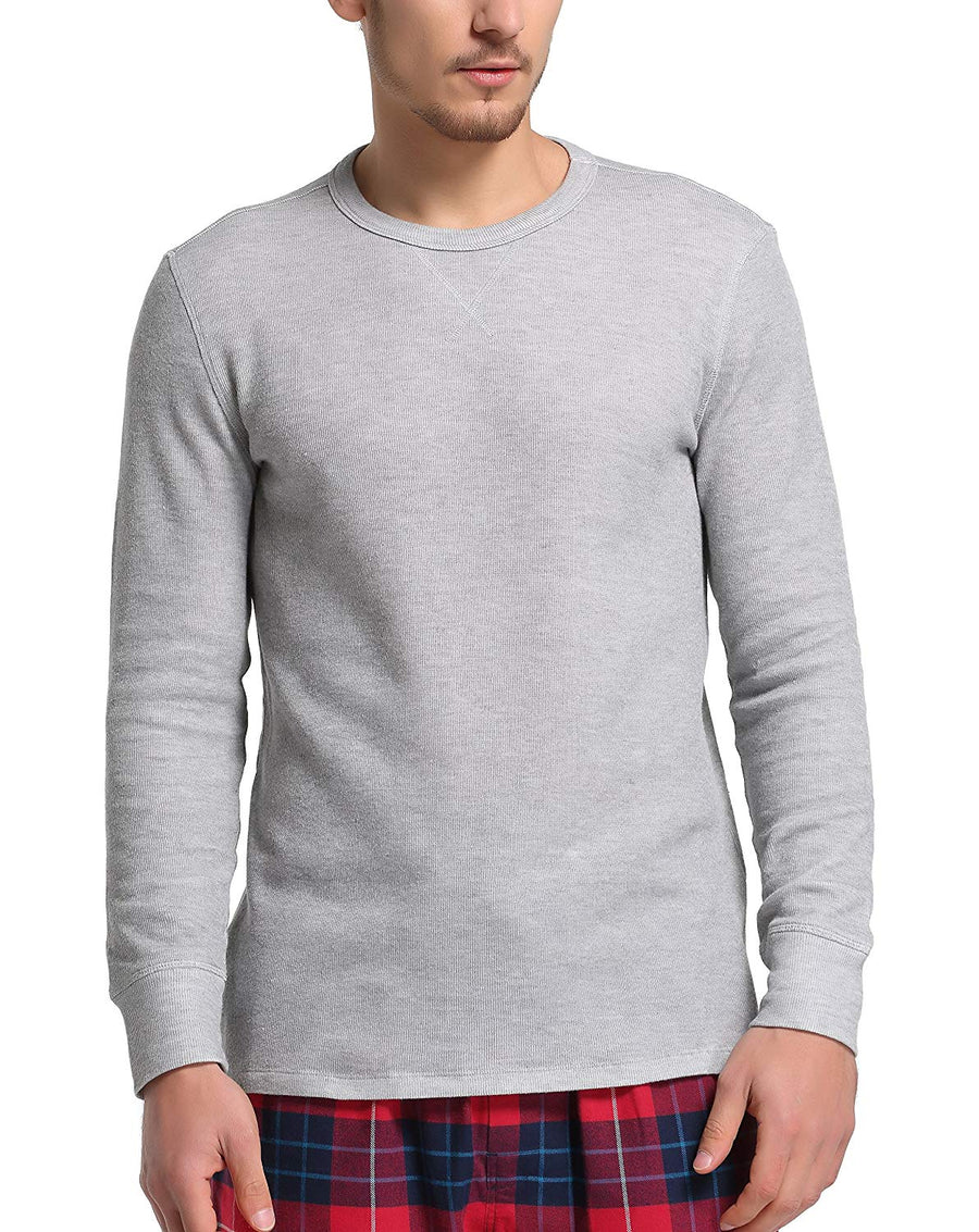 CYZ Men's Cotton Rib Knit Long Sleeve Crew Neck T-Shirt