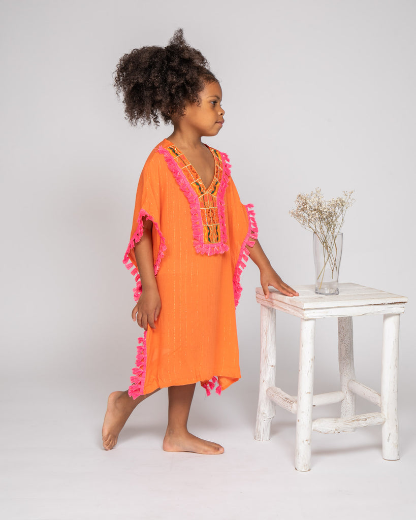 Tenue de plage ibiza orange 4-14 ans