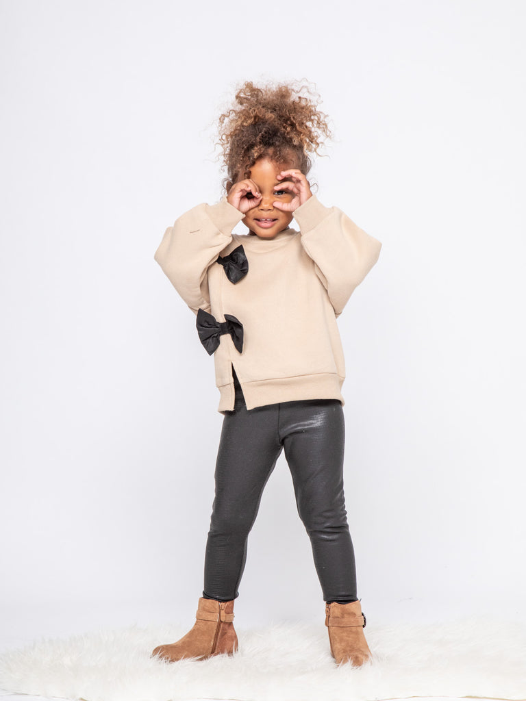 Sweat a noeud beige 4-14 ans