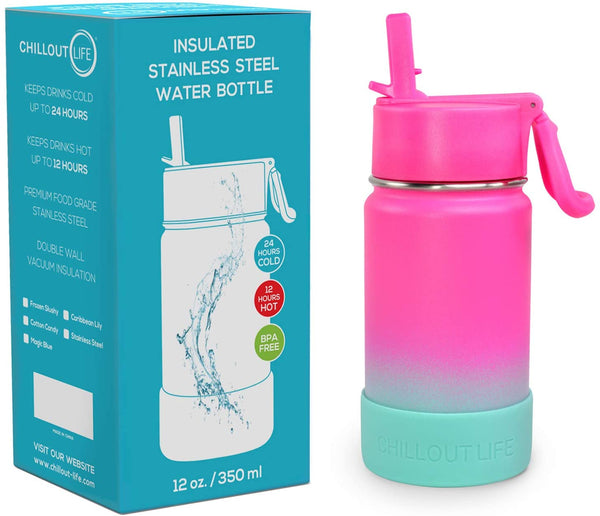 CHILLOUT LIFE 12 oz Insulated Water Bottle with Straw Lid for Kids + 20 Cute Waterproof Stickers - Perfect for Personalizing Your Kids Metal Water Bottle(Frozen Slushy) - CHILLOUT LIFE