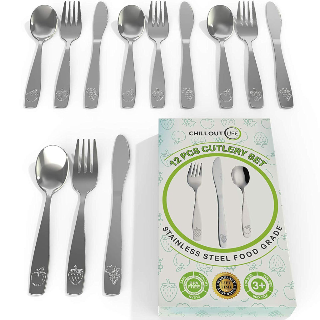 12 Piece Stainless Steel Kids Silverware Set | Kids Utensil Set Includes 4 Small Kids Spoons, 4 Forks & 4 Knives - CHILLOUT LIFE