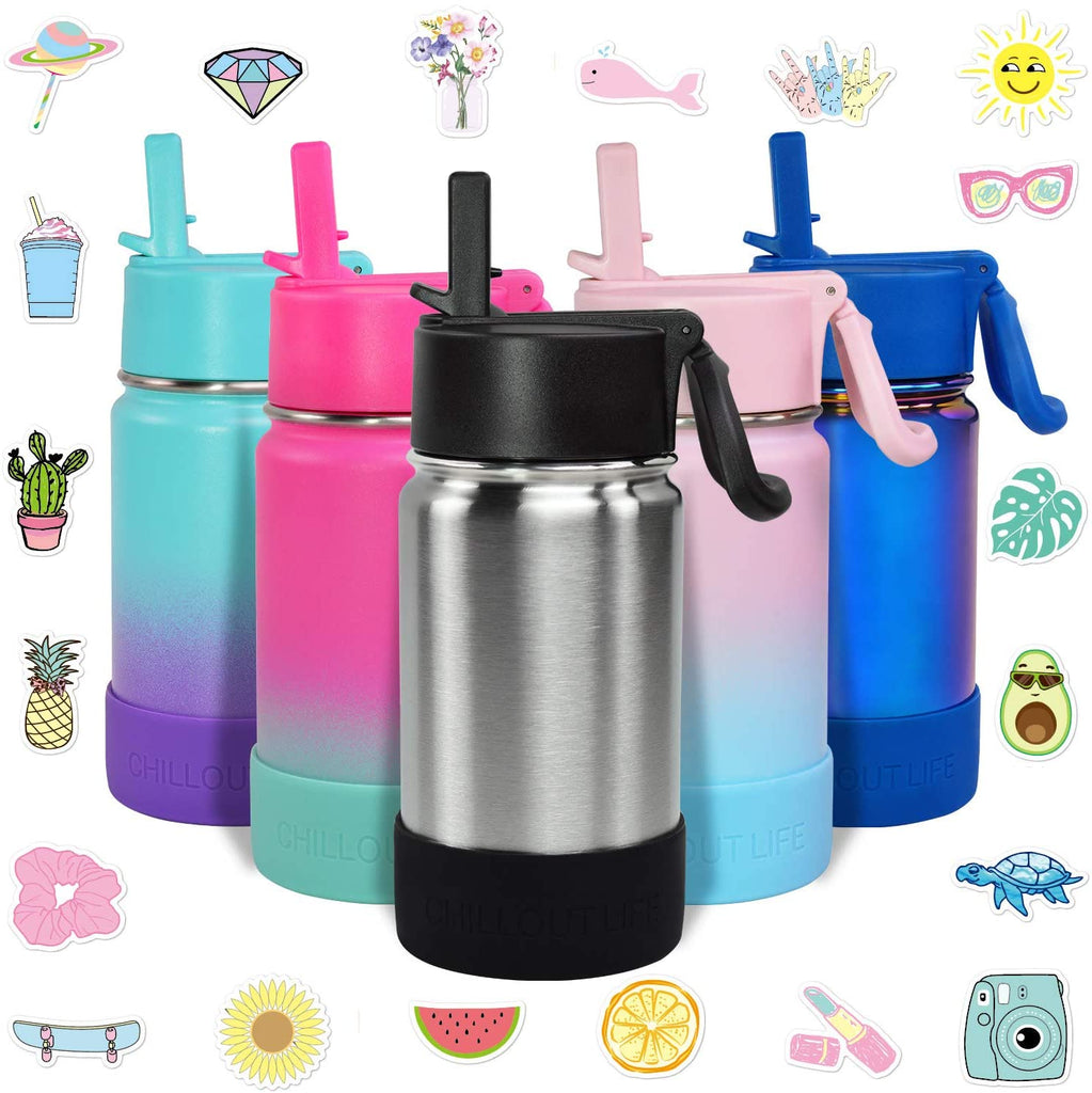 CHILLOUT LIFE 12 oz Insulated Water Bottle with Straw Lid for Kids + 20 Cute Waterproof Stickers - Perfect for Personalizing Your Kids Metal Water Bottle(Silver) - CHILLOUT LIFE