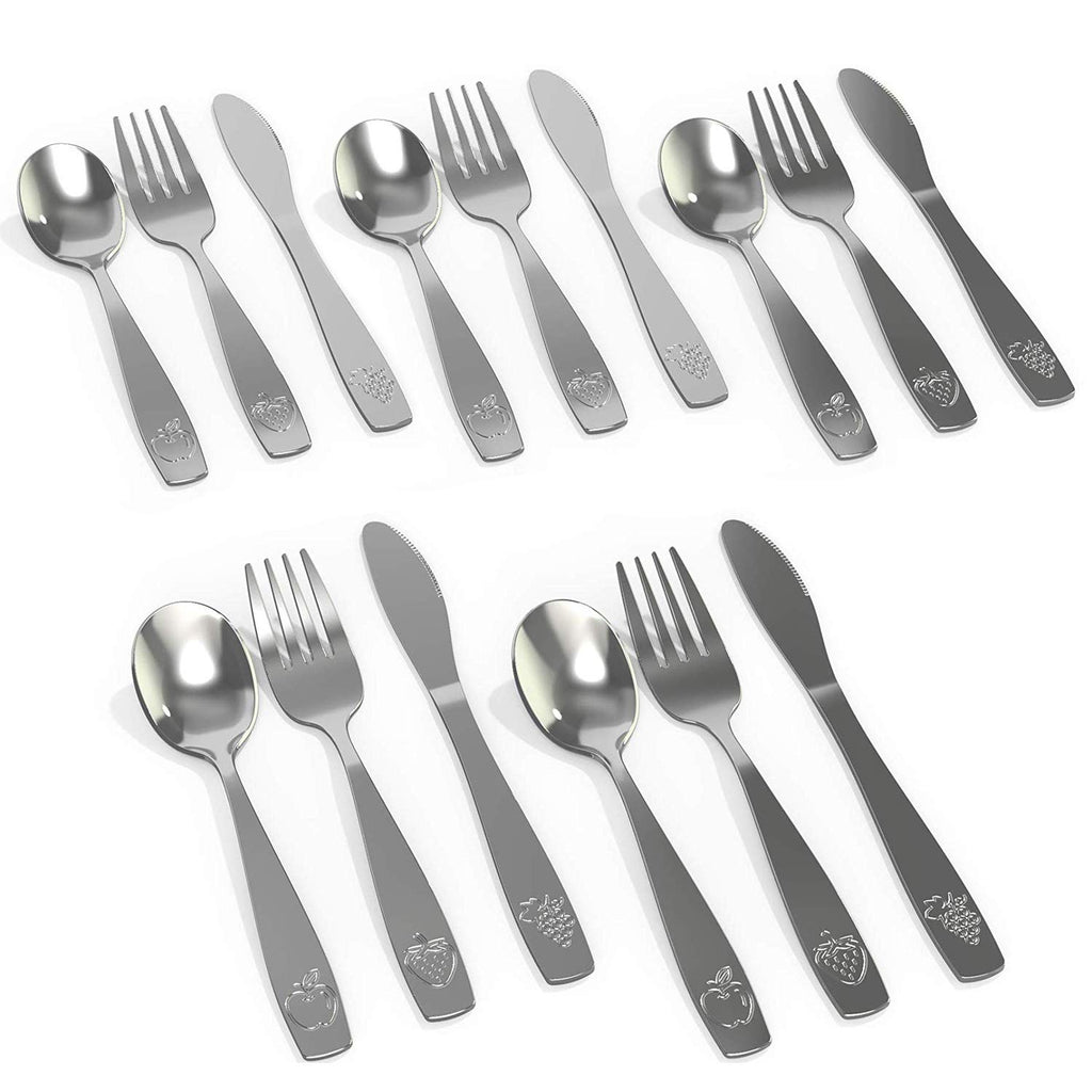 15 Piece Stainless Steel Kids Silverware Set | Kids Utensil Set Includes 5 Small Kids Spoons, 5 Forks & 5 Knives - CHILLOUT LIFE