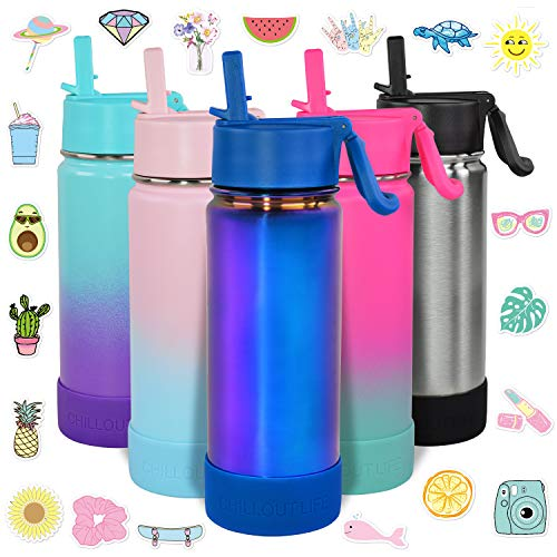 CHILLOUT LIFE 17 oz Insulated Water Bottle with Straw Lid for Kids and Adult + 20 Cute Waterproof Stickers - Perfect for Personalizing Your Kids Metal Water Bottle(Magic Blue) - CHILLOUT LIFE