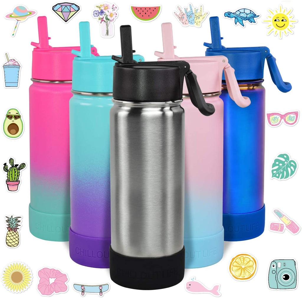 CHILLOUT LIFE 17 oz Insulated Water Bottle with Straw Lid for Kids and Adult + 20 Cute Waterproof Stickers - Perfect for Personalizing Your Kids Metal Water Bottle(Silver) - CHILLOUT LIFE