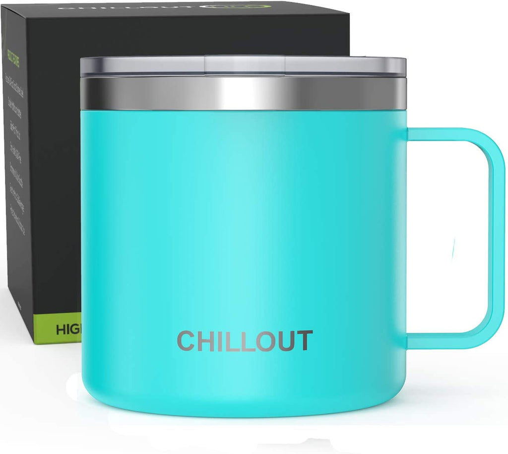 16 oz Stainless steel Vacuum Insulated Coffee Mug with Handle and Lid, Large Thermal Camping Coffee Mug Cup with Durable Sliding Lid for Men & Women - Keeps your Beverages Hot / Cold for a Long Time - Aqua Blue - CHILLOUT LIFE