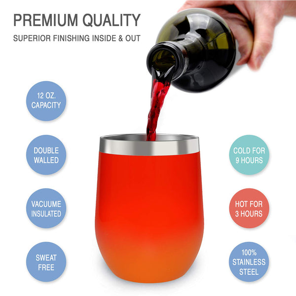 CHILLOUT LIFE 12 oz Stainless Steel Wine Tumbler for Coffee, Wine, Cocktails, Ice Cream, Red Fire Wine Tumbler - CHILLOUT LIFE