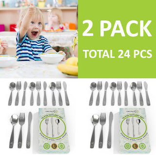 24 Piece Stainless Steel Kids Silverware Set | Kids Utensil Set Includes 8 Small Kids Spoons, 8 Forks & 8 Knives - CHILLOUT LIFE
